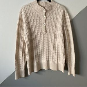 Jeanne Pierre XL Cable Knit Sweater Henley Neck